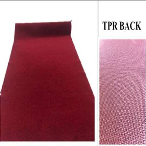 Plain velour carpet with TPR backing