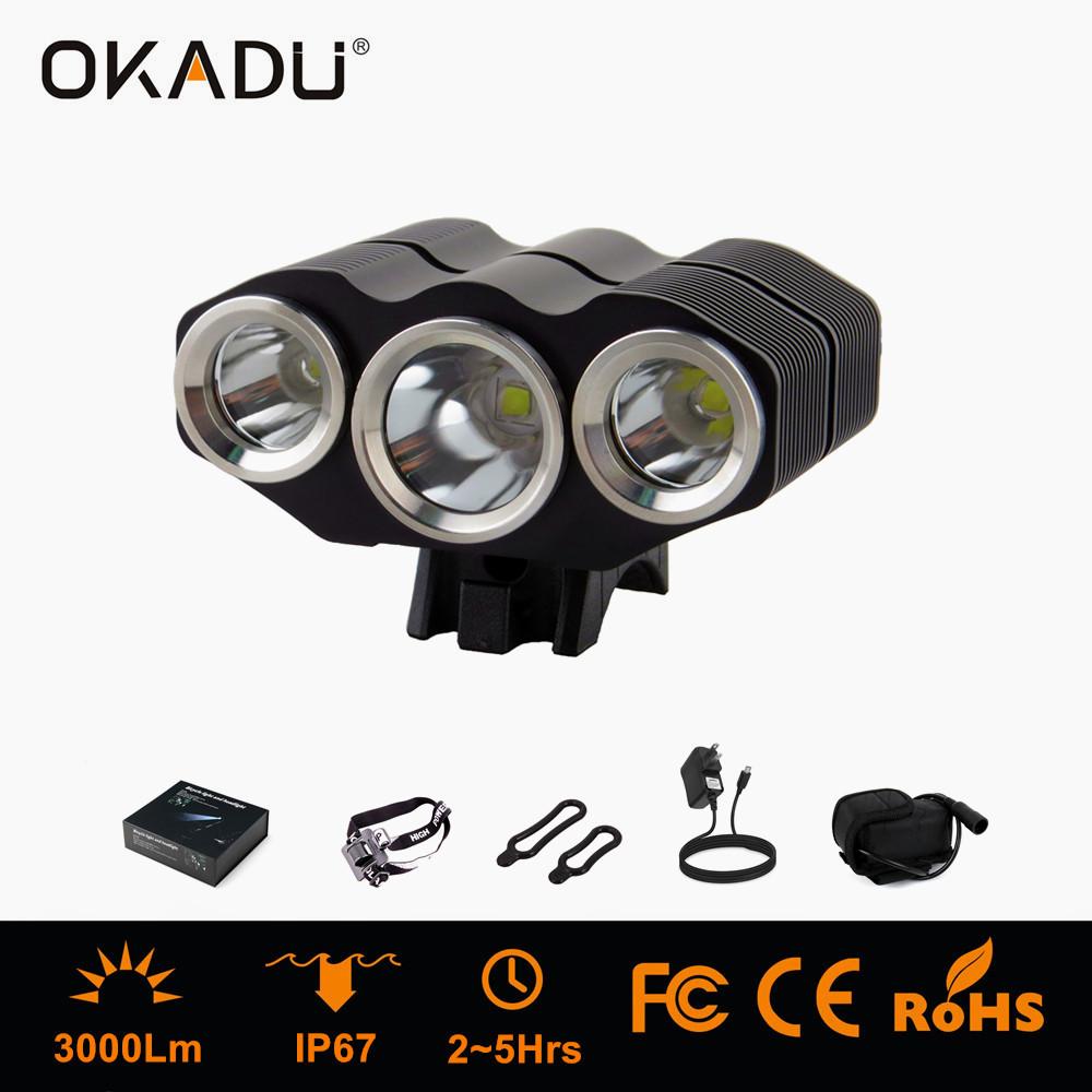 OKADU BT3C High Power Aluminum Battery Bicycle Led Lamp 3000Lumens 3 Cree XM-L T6 LED Bike Light