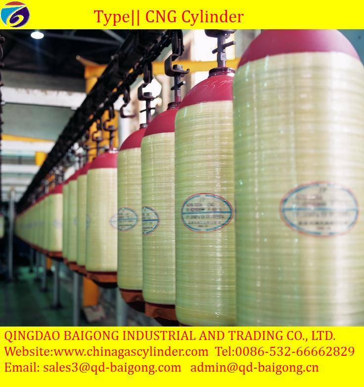 50-220L Steel Type2 fiberglass CNG cylinder for vehicle