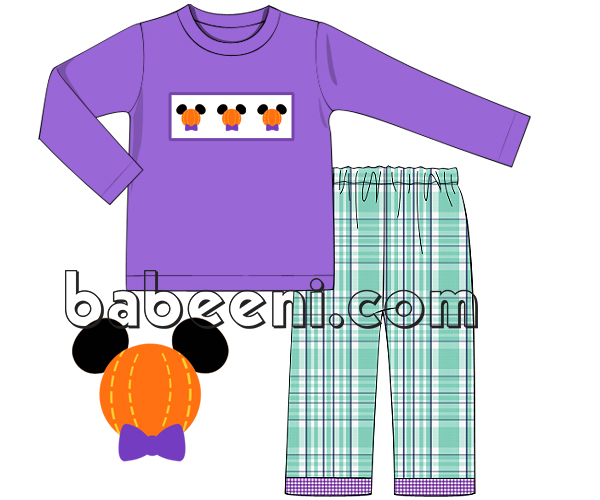 Mickey pumpkin smocked outfit for boys - BC 723