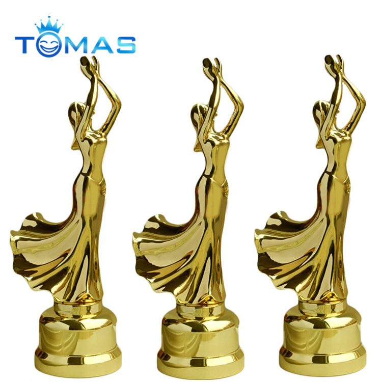 Hot design various color plated available custom metal dancing figurines