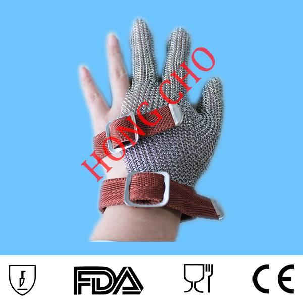 3 finger steel mesh safety gloves for butcher