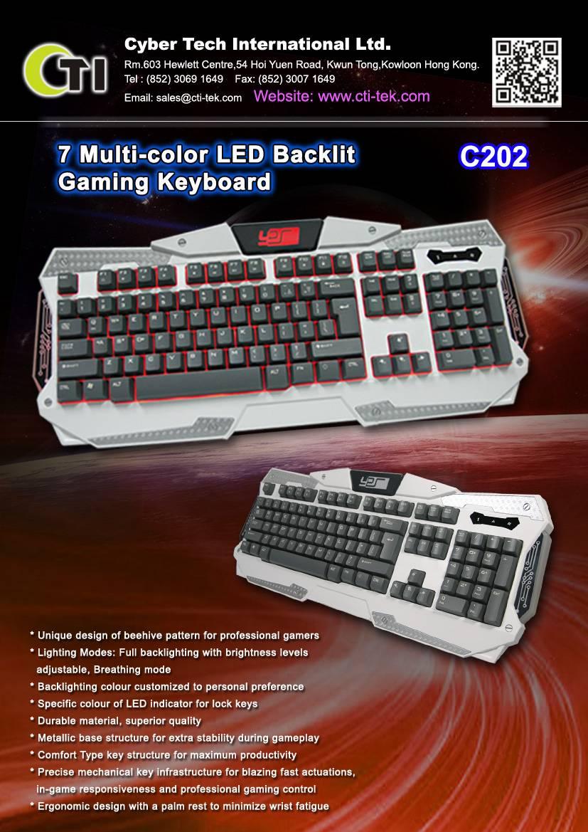 7 Multi-color LED Backlit Gaming Keyboard(Option)k