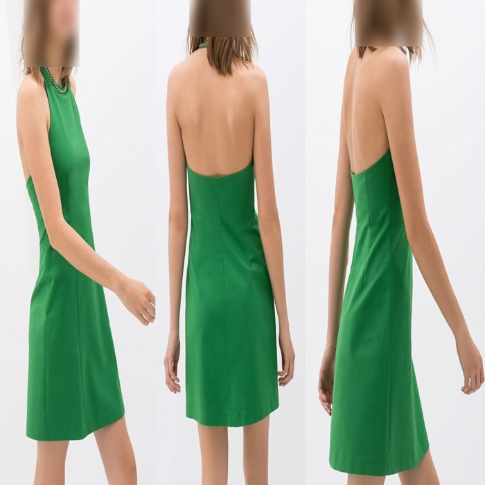 Fashion A-line Sexy Halter Dress Women Round Neck Party Dress Occupation One-piece Dress