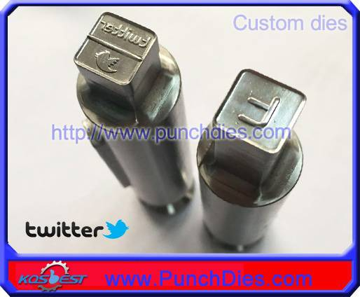 Custom-made Twitter stamp in 12*12mm square shape pill die set for ZP9 machine
