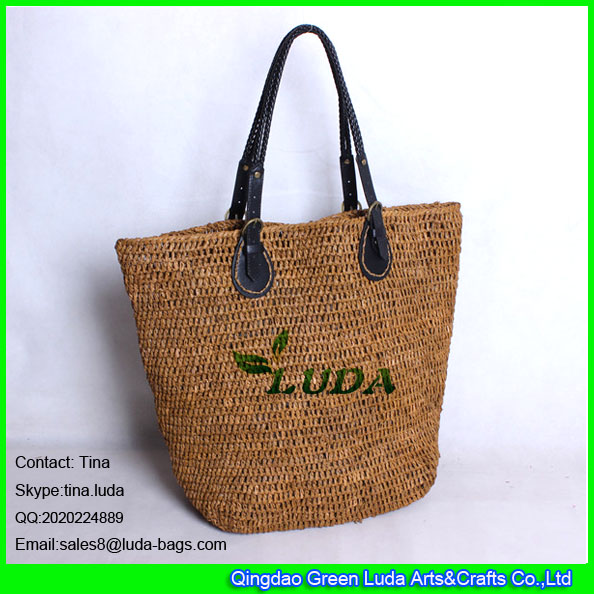 LDLF-006 hand crochetting raffia totes light brown beach straw shopping raffia bags