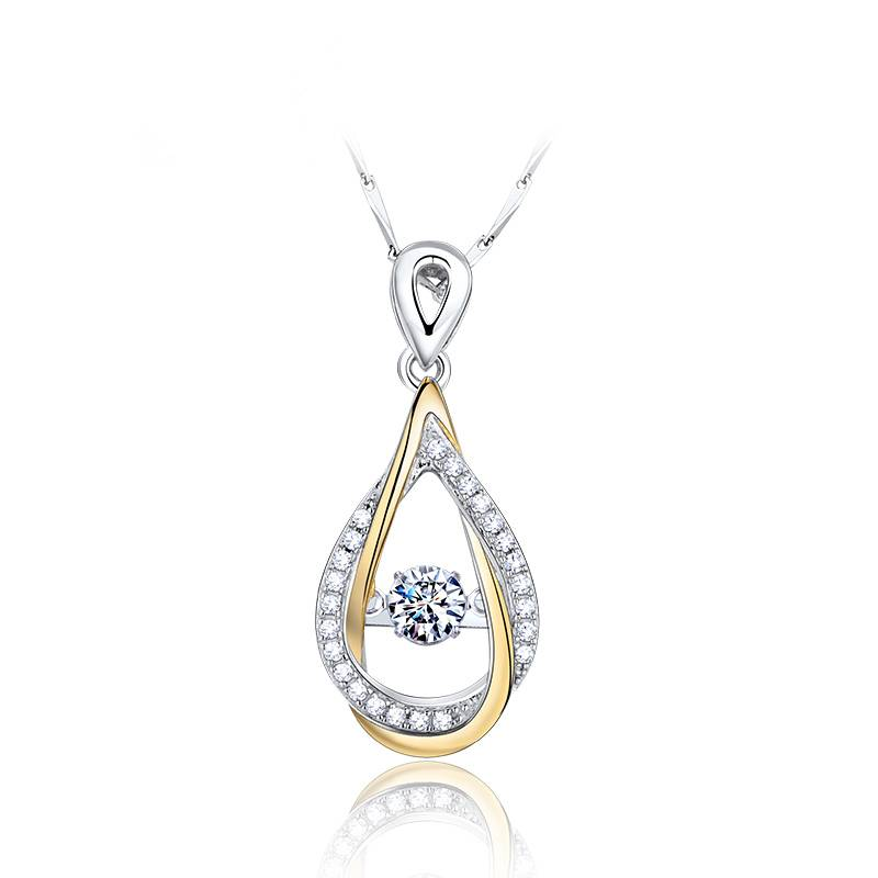 Love touching  drops 925 silver pendant necklace