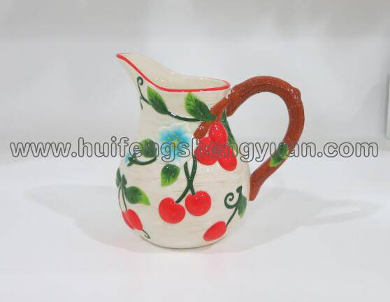 100% handpained embossed chery ceramic pitcher