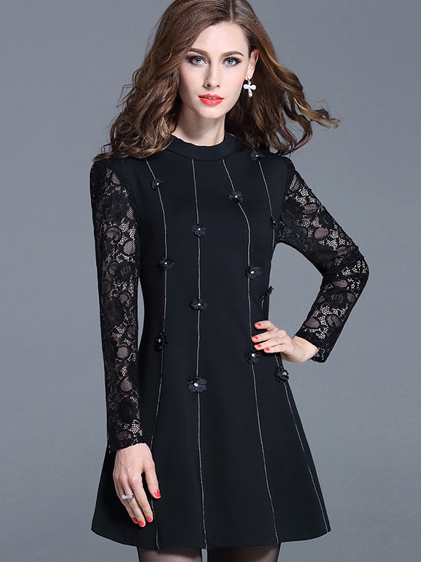 Black Gray Plus Size Autumn Fashion Women Dress Casual Dress