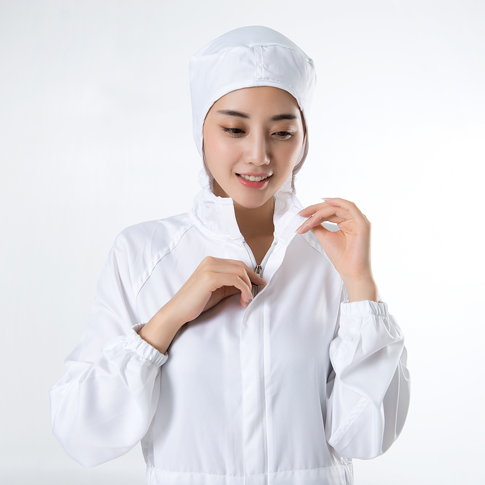 100%Polyester White Jumpsuit Food Processing Uniform