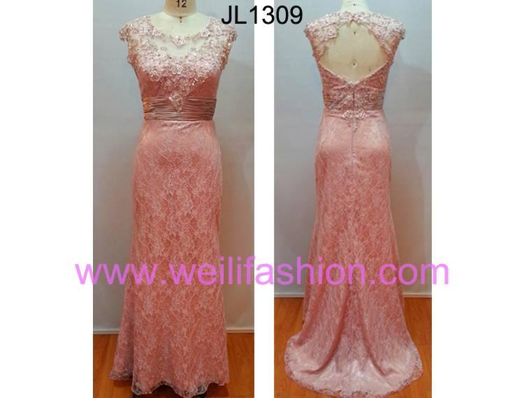 High-Grade Long Applique Beading Lace Evening Dresses