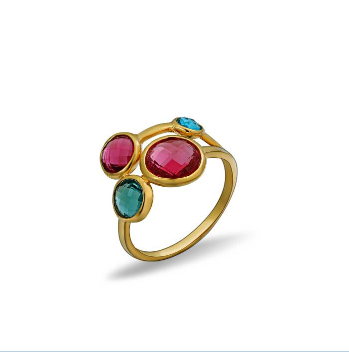 18K Gold Plating Gemstone Silver 925 Ring Jewelry Supplier