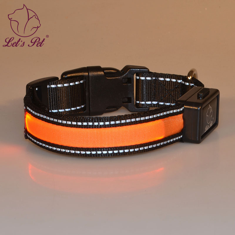 Supply USB rechargeable hight quanlity nylon Led dog collar with reflective line and waterproof