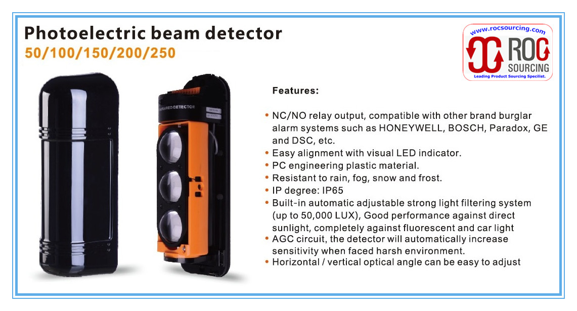 Wired Anti-intrusion Photoelectric triple beam Detector Motion Sensor for Perimeter Pretection Alarm