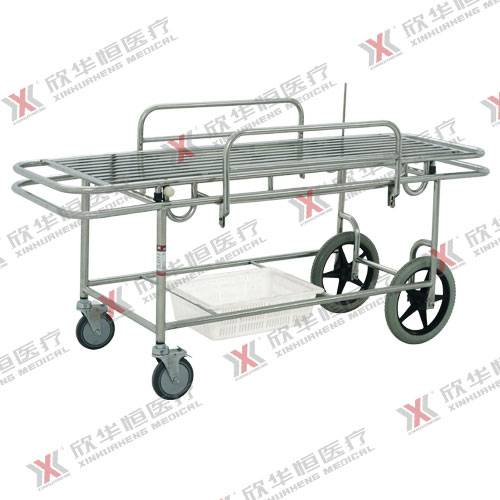 Stainless steel hospital patient transfer trolley