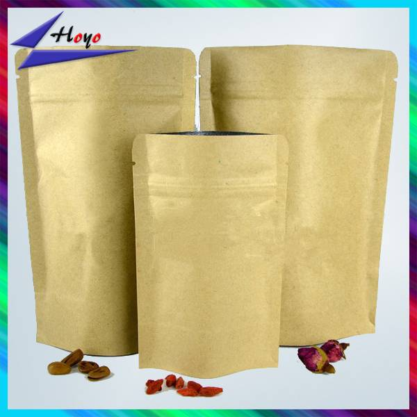 kraft paper stand up pouches with resealable zipper
