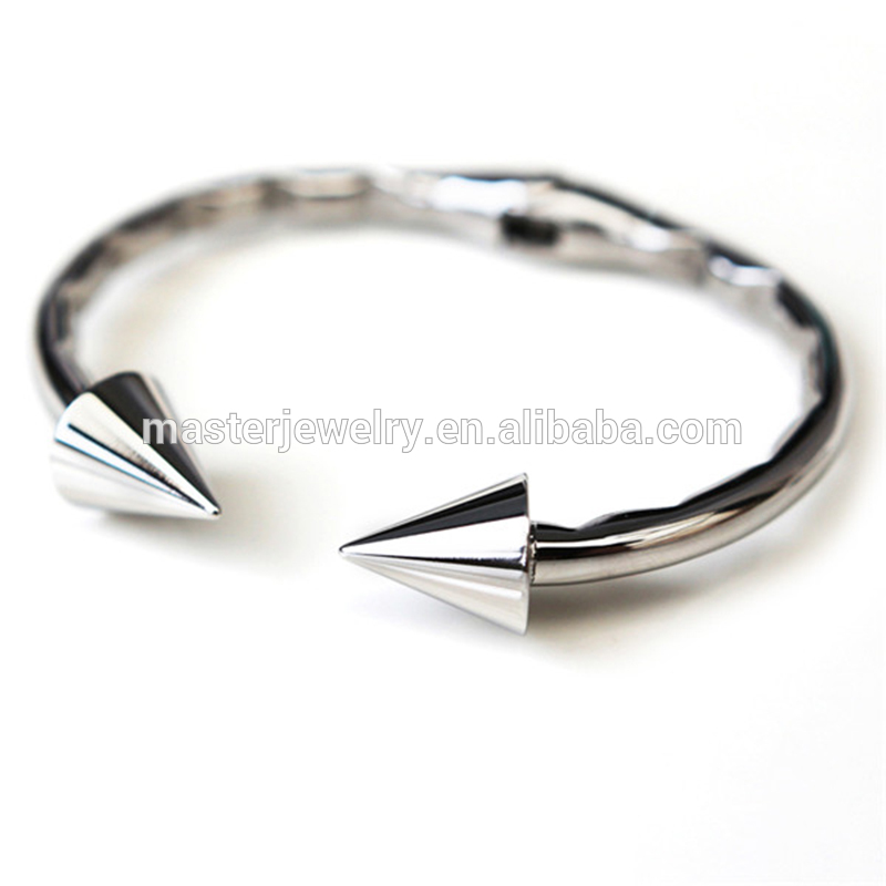Wholesale Manufacturer Steel Metal Plated Gold Silver Spike Cuff Bangle Bracelet