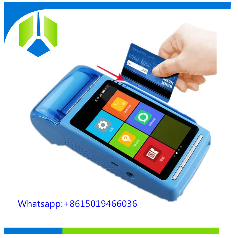 New design portable android pos terminal with printer and 2D barcode scanner for top up