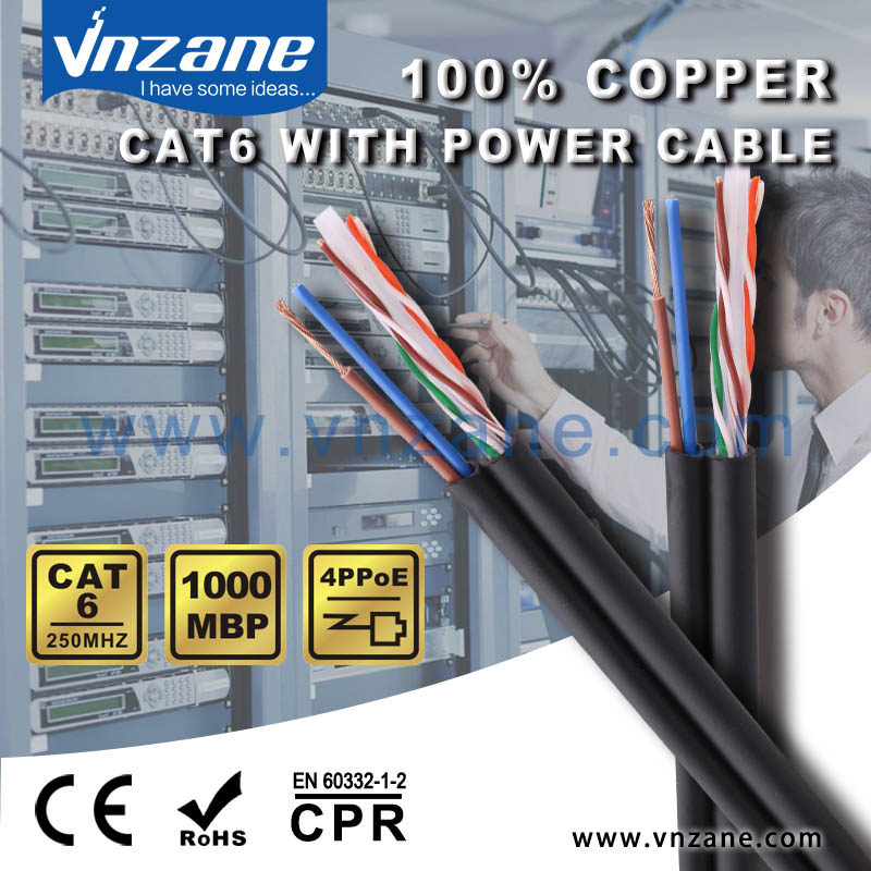 cctv siamese cable Cat6 with power cable