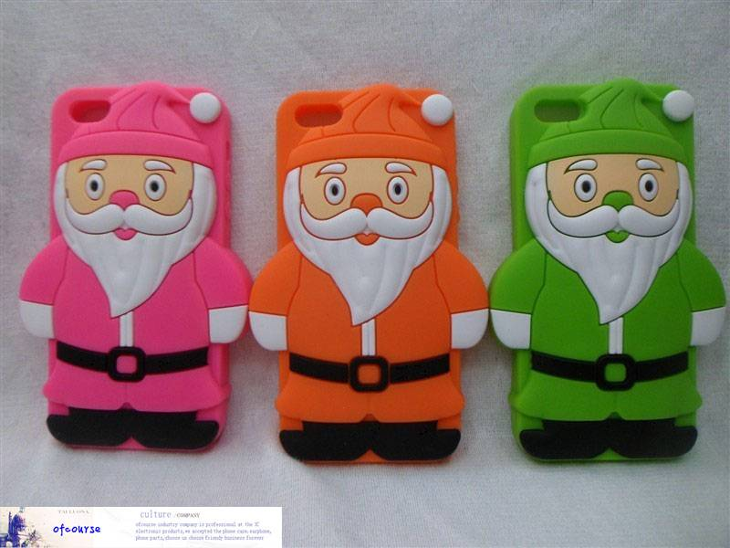 Christmas gift Santa Claus phone case for iphone 5 cartoon silicone cover