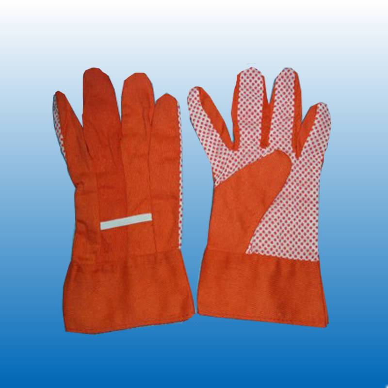 Cotton work Gloves with PVC dots on Palm (WF1015)