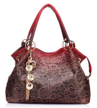 Women Bag Hollow Out Ombre Handbag Floral Print Shoulder Bags Ladies PU Leather Tote Bag