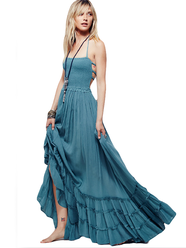 Summer Women Fashion Solid Halter Sleeveless A-Line Floor-Length Party Dress WT51882