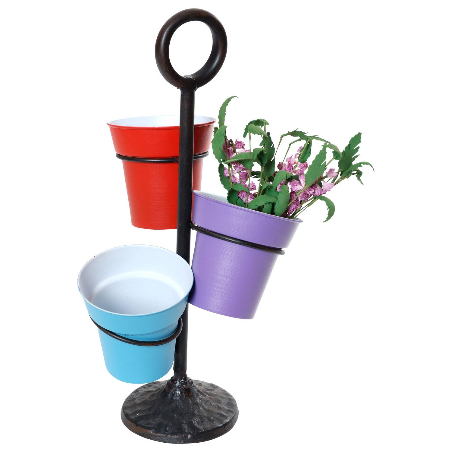 Flower Pot Stand with Handle Cast Base, 3 Station Wire Rack