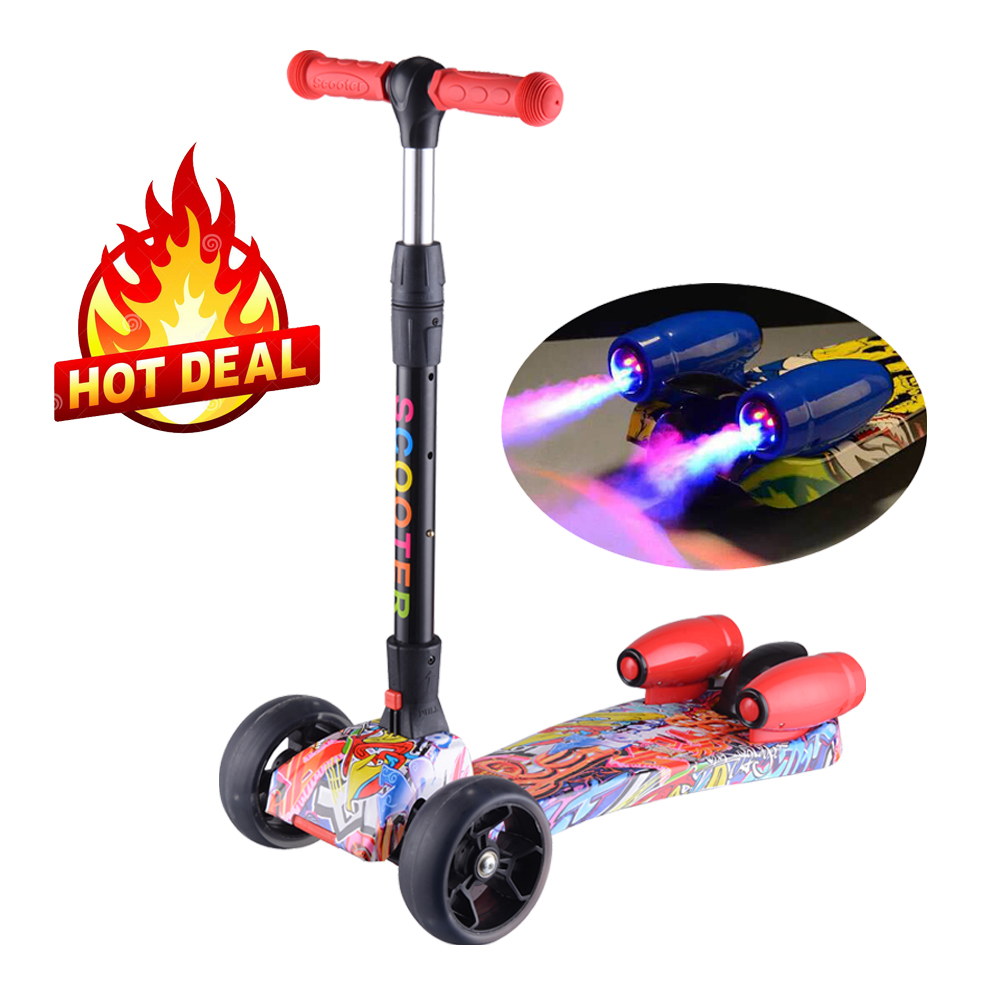 2018 hot selling rocket jet spray kids kick scooter with music