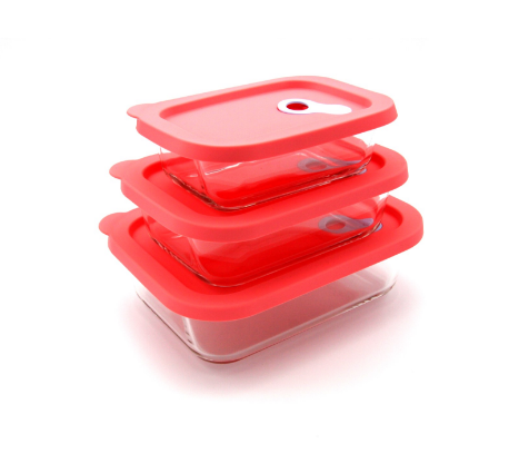 Rectangular glass containers for food storage