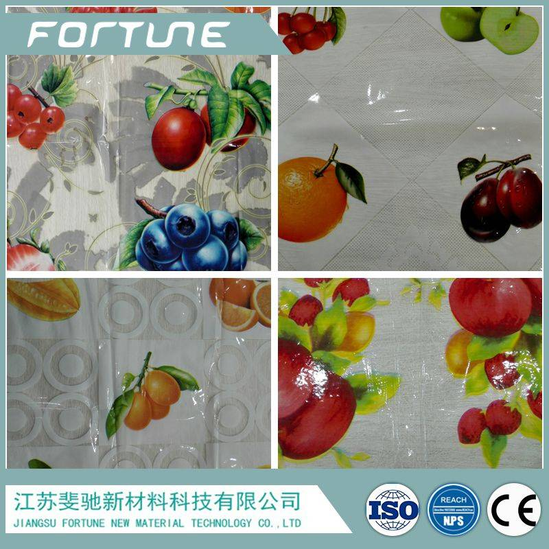 clear fruit printed table cloth plastic material
