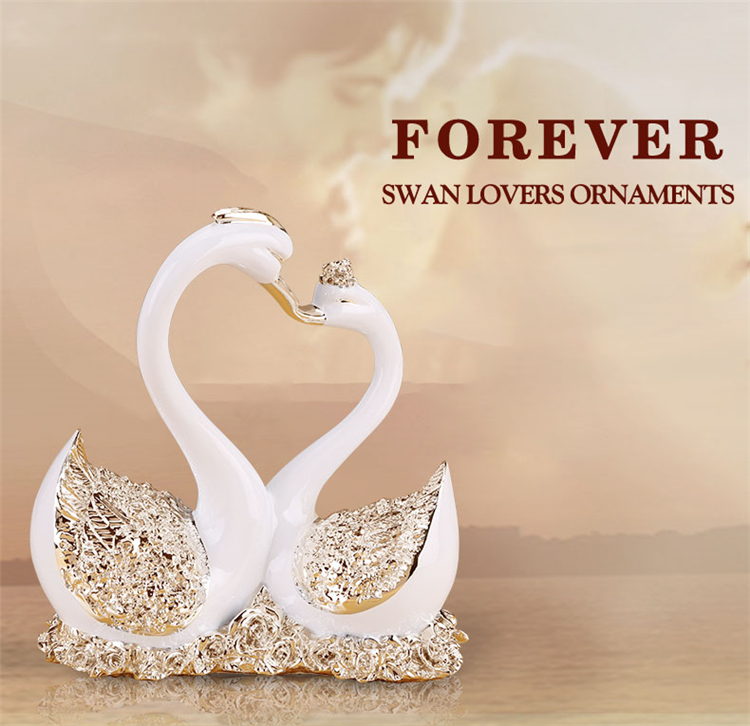 wedding table centerpiece decor love cou decoration kissing swan statues for home decor wedding gift