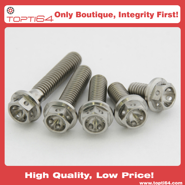 M8 Race drilled Titanium hex flange bolts