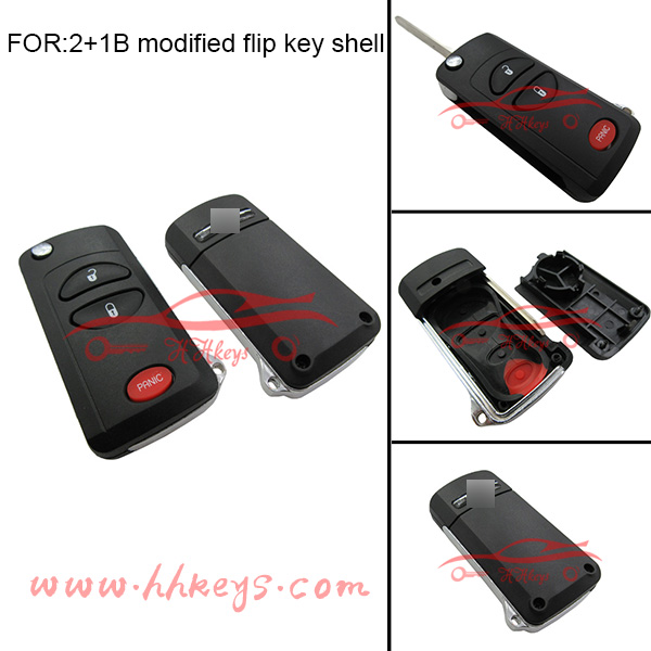For Chrysler 2+1 buttons folding modified remote key shell