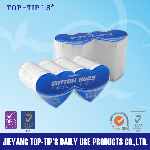 Linking hearts shape pp canister plastic stick cotton buds