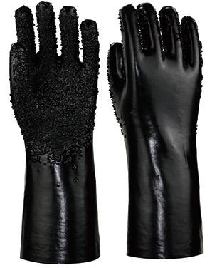 35cm black  PVC working safety gloves with chips on palm and fingers