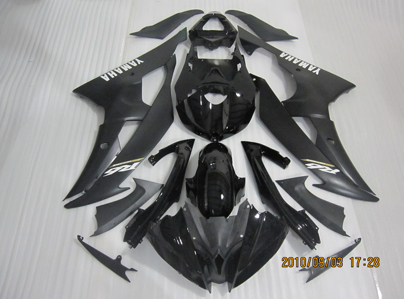YZF-R6 2008 TO 2016 SPORT BIKE INJECTION AFTERMARKET BODYWORK MATTE BLACK REPLACEMENT ABS FAIRING