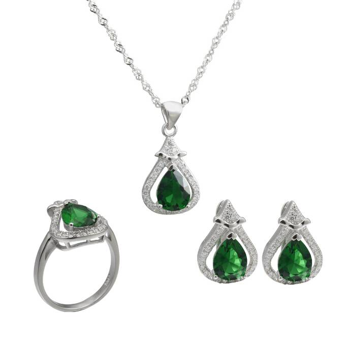 Colorful Stones Sterling Silver Jewelry Set for Women