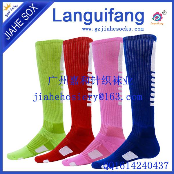Wholesale custom men knee high pured cotton terry colorful sport soccer football socks