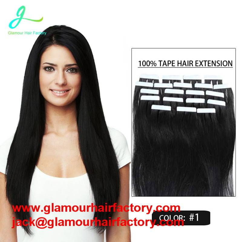 PU tape hair extensions 100% remy human hair can be customized