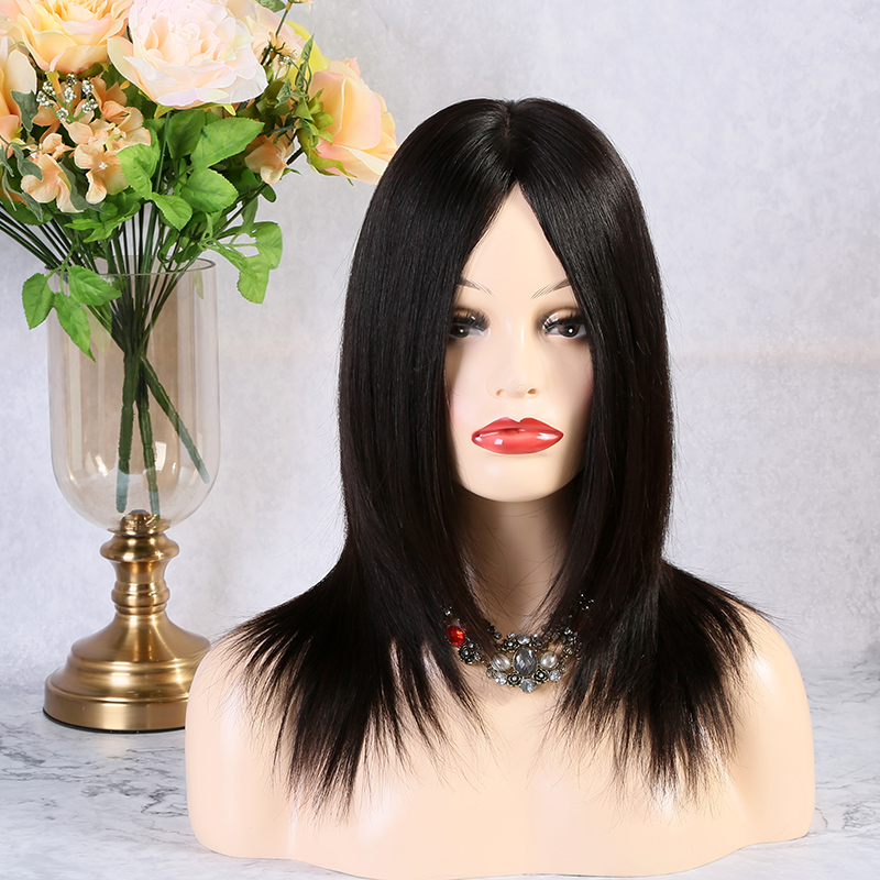 14 Inches 162g Straight Natural Black 80-90% Density Full Lace Wigs