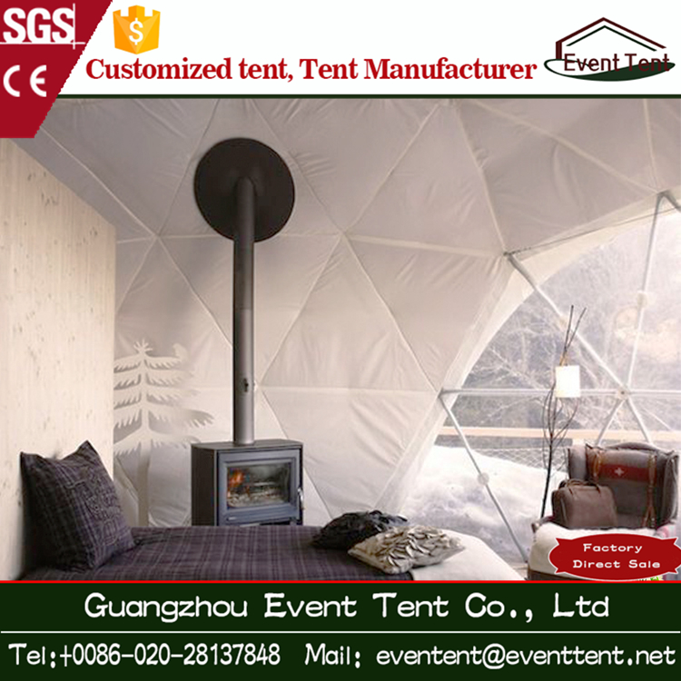 China best price Diameter 8 m aluminium dome tent with for cold outdoor living