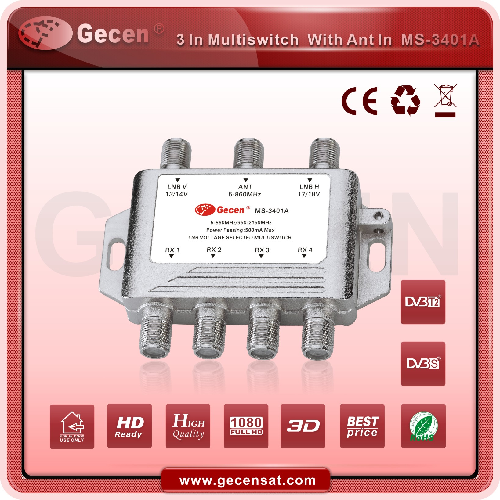 2016 GECEN 3 in 4 Satellite Multiswitch MS-3401A