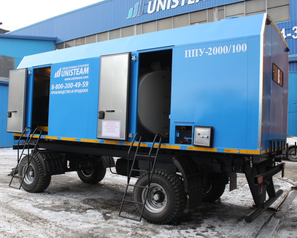UNISTEAM-MPD 2000/100 Portable Industrial steam boiler with diesel generator compartment