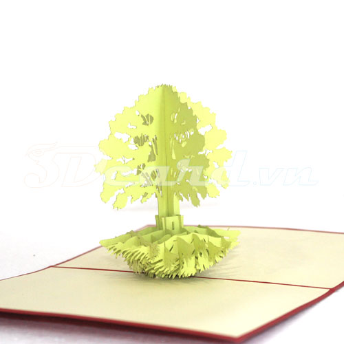 Africa Tree-Kirigami-Origami-Laser cut-Paper cutting-Pop up card-3D-Handmade-Birthday card