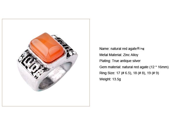 Natural red agate Ring /CT-R0015