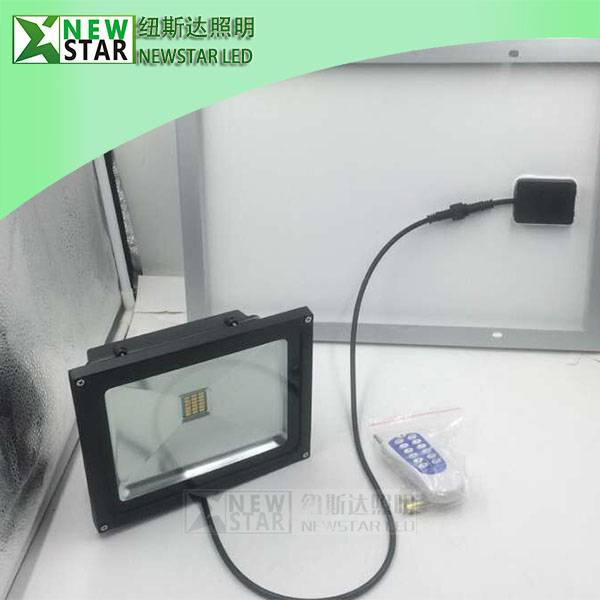 RF remote dc12v 30w solar led flood lights, solar panel dimmable led floodlight with Remote