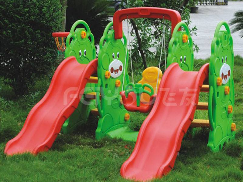 Small playground plastic slide with swing set for kids FY8263014