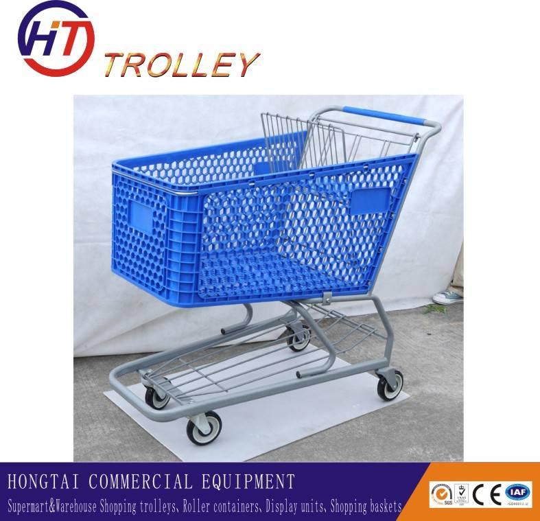 large volume plastic swivel basket shopping trolley wholesale
