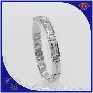 Fashion jewelry eternity 316L stainless steel bracelet with synthetic diamond